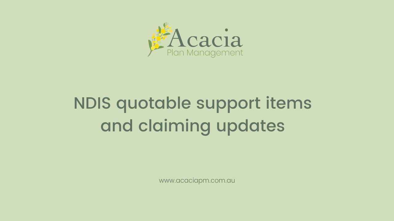 NDIS quotable support items and claiming updates