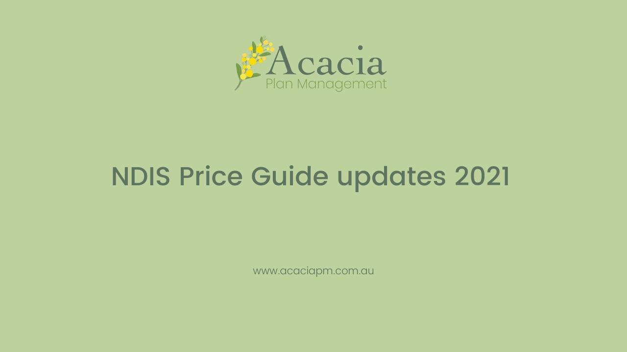 NDIS Price Guide updates 2021